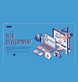 web development website construction landing page vector image vector image