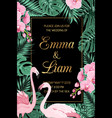 wedding invite leaves pink orchid flamingo couple vector image vector image