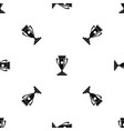 winning cup pattern seamless black vector image vector image