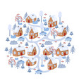 winter village isolated on white background vector image