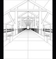 wire-frame industrial building indoor on the white vector image vector image
