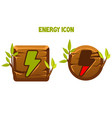 wooden icons and buttons lightning energy vector image
