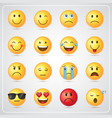 yellow smiling cartoon face people emotion icon vector image vector image