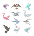 Origami bird set 3d abstract paper flying birds vector image