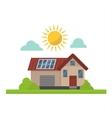 Sun solar energy house vector image