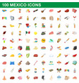 100 mexico icons set cartoon style vector image vector image