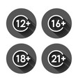 12 16 18 21 plus icon in flat style censorship vector image vector image