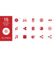 15 multimedia icons vector image vector image