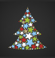 abstract christmas tree made of multicolored stars vector image vector image