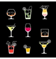 Alcohol drinks and cocktails icon set in flat vector image vector image