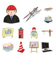 architecture and construction cartoon icons in set vector image vector image