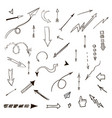 arrows hand drawn set vector image