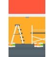 Background of wall with paint cans and ladder vector image