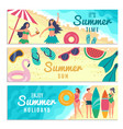 banners set with various summer vector image