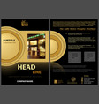 black flyer template with golden design elements vector image vector image