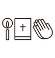 candle bible and praying hands icon vector image