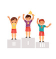children on the podium vector image