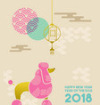 chinese new year 2018 flat gold dog greeting card vector image vector image