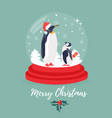 christmas background with snowball and penguins vector image vector image