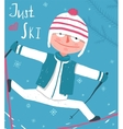 Cute Colorful Hand Drawn Winter Clothes Skier vector image vector image