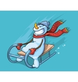 cute snowman with red scarf vector image vector image