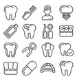 dental icons set on white background line style vector image vector image