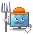 farmer lcd tv cartoon in living room vector image