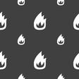 Fire flame icon sign Seamless pattern on a gray vector image