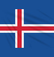 flag iceland swaying in wind realistic vector image