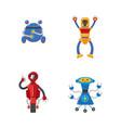 flat cartoon funny male robots set vector image vector image