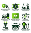 flat icon set for green eco electric car vector image vector image