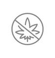 forbidden sign with cannabis leaf line icon no vector image vector image