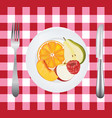 fruits in a plate on picnic tablecloth vector image