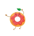 Funny donut character with pink glazing and vector image vector image
