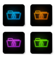 glowing neon folder and lock icon isolated on vector image vector image