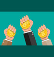 gold coin in hand vector image vector image