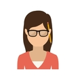 half body woman with glasses and jacket vector image vector image