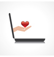 hand holding heart comes from laptop screen vector image vector image