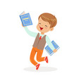 happy boy running with books kid enjoying reading vector image vector image