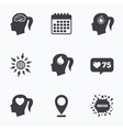 Head with brain iconFemale woman symbols vector image vector image