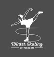 ice skating label logo vector image vector image