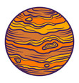 jupiter planet icon hand drawn style vector image