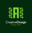 letter a garden leaf creative naturally logo vector image vector image