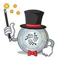 magician iota coin character cartoon vector image