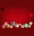 merry christmas with lovely gift box on red vector image