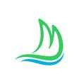 mountain shore ocean wave initial m lettermark vector image vector image