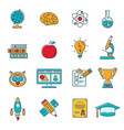online education colored line web icon set vector image vector image