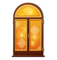 orange door with oriental ornament vector image vector image