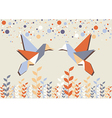 Origami hummingbird couple over beige vector image vector image