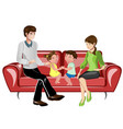 parents and their children on sofa vector image vector image